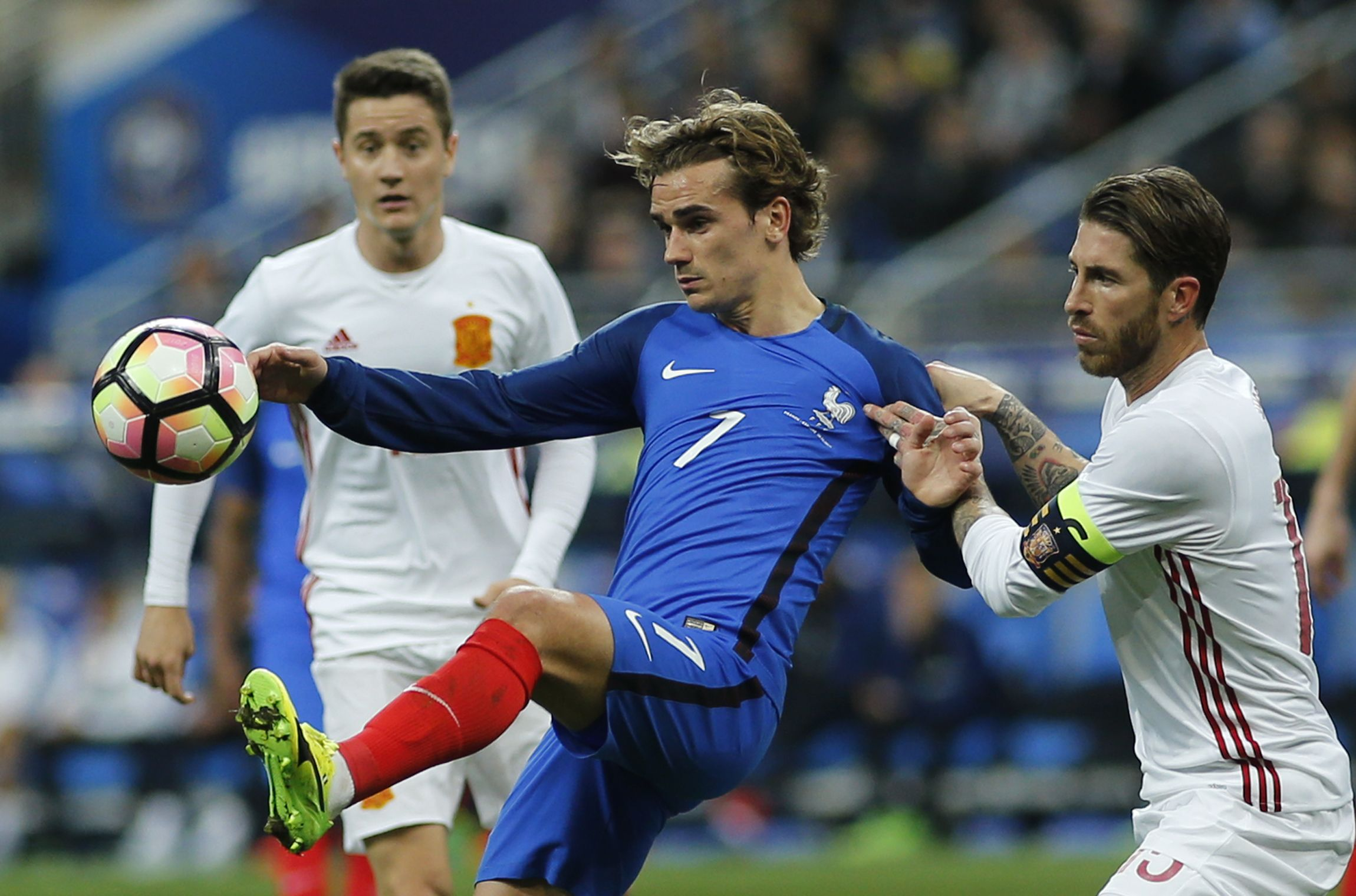 France and Atletico Madrid striker Antoine Griezmann, center, at Stade de France, Paris, March 28.