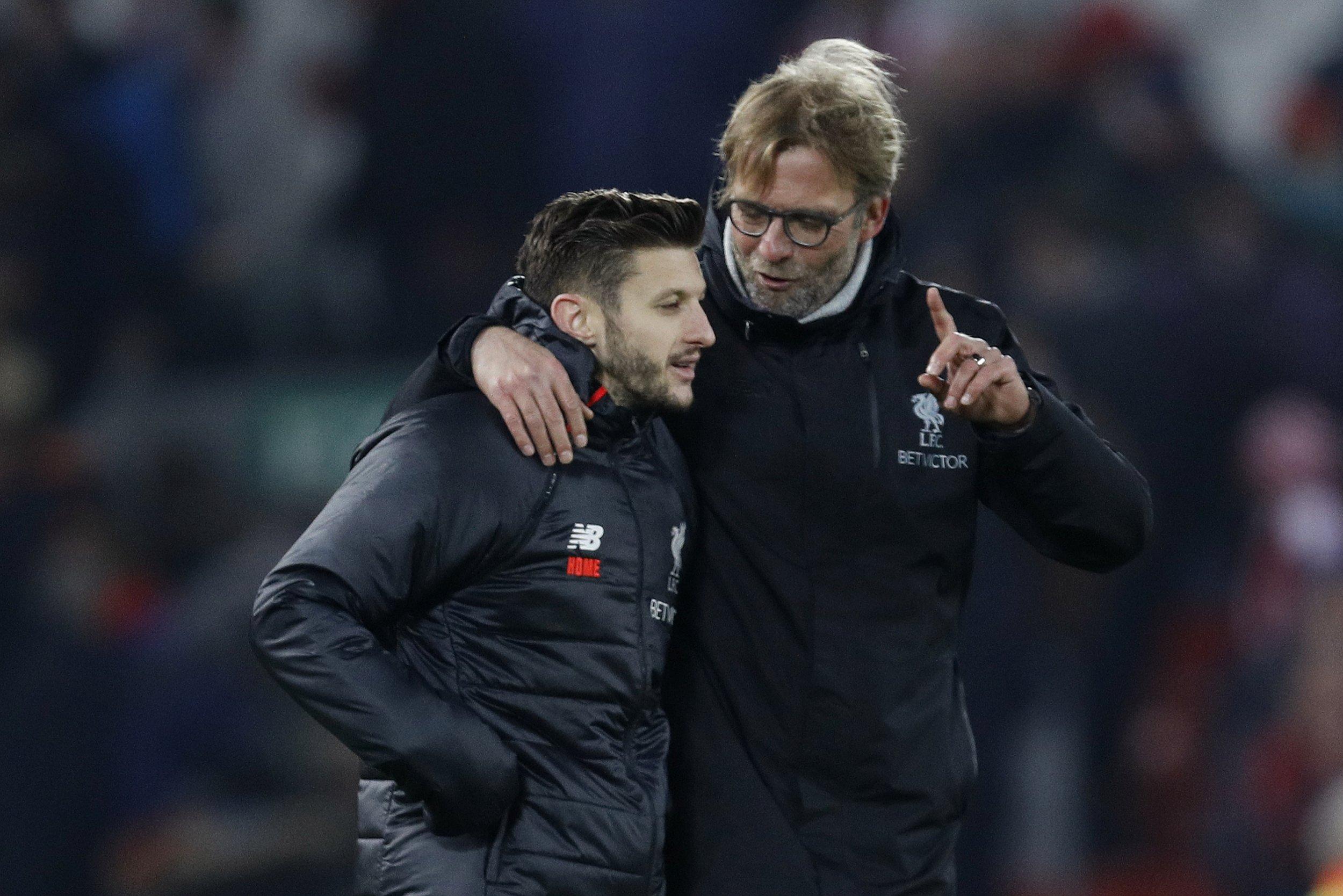 Liverpool manager Jurgen Klopp, right.