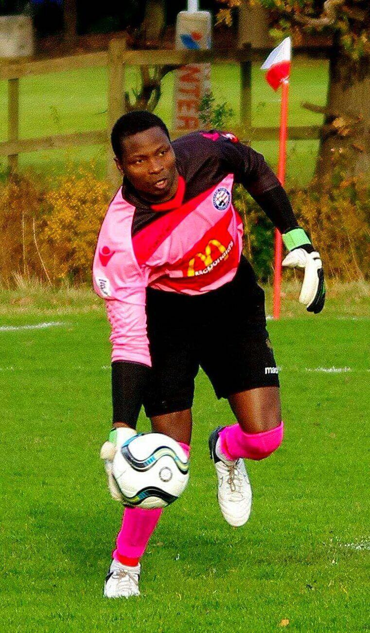 Peckham Town goalkeeper Tope Okeowo.