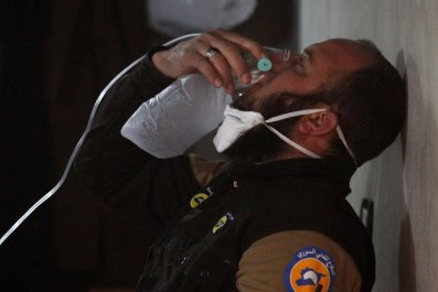 Civil defense worker after chemical attack