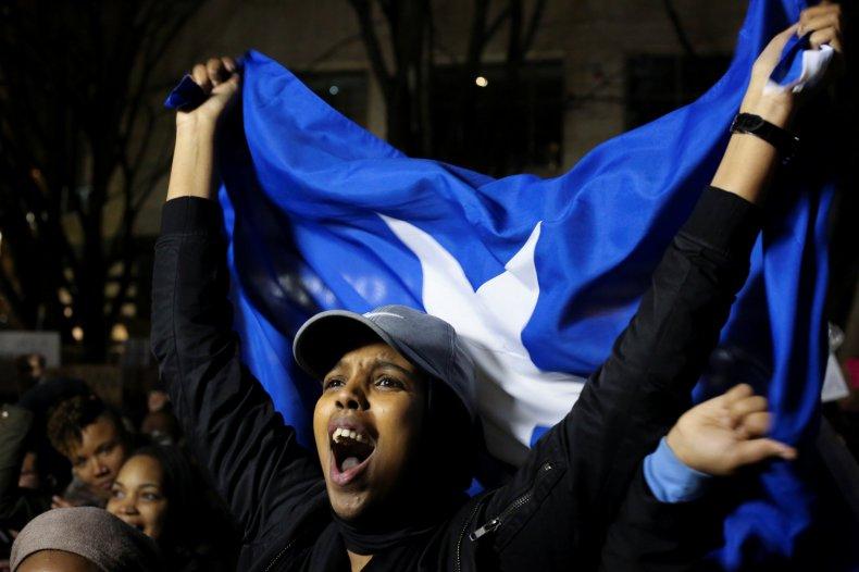 Travel ban protest Somalia