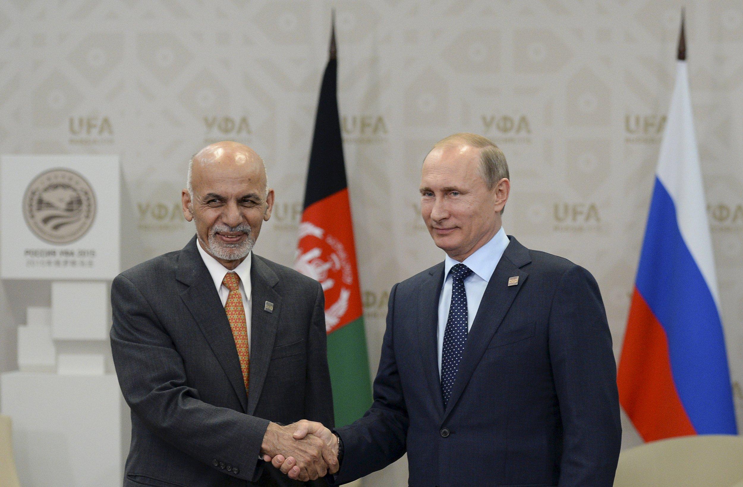 Ashraf Ghani and Vladimir Putin