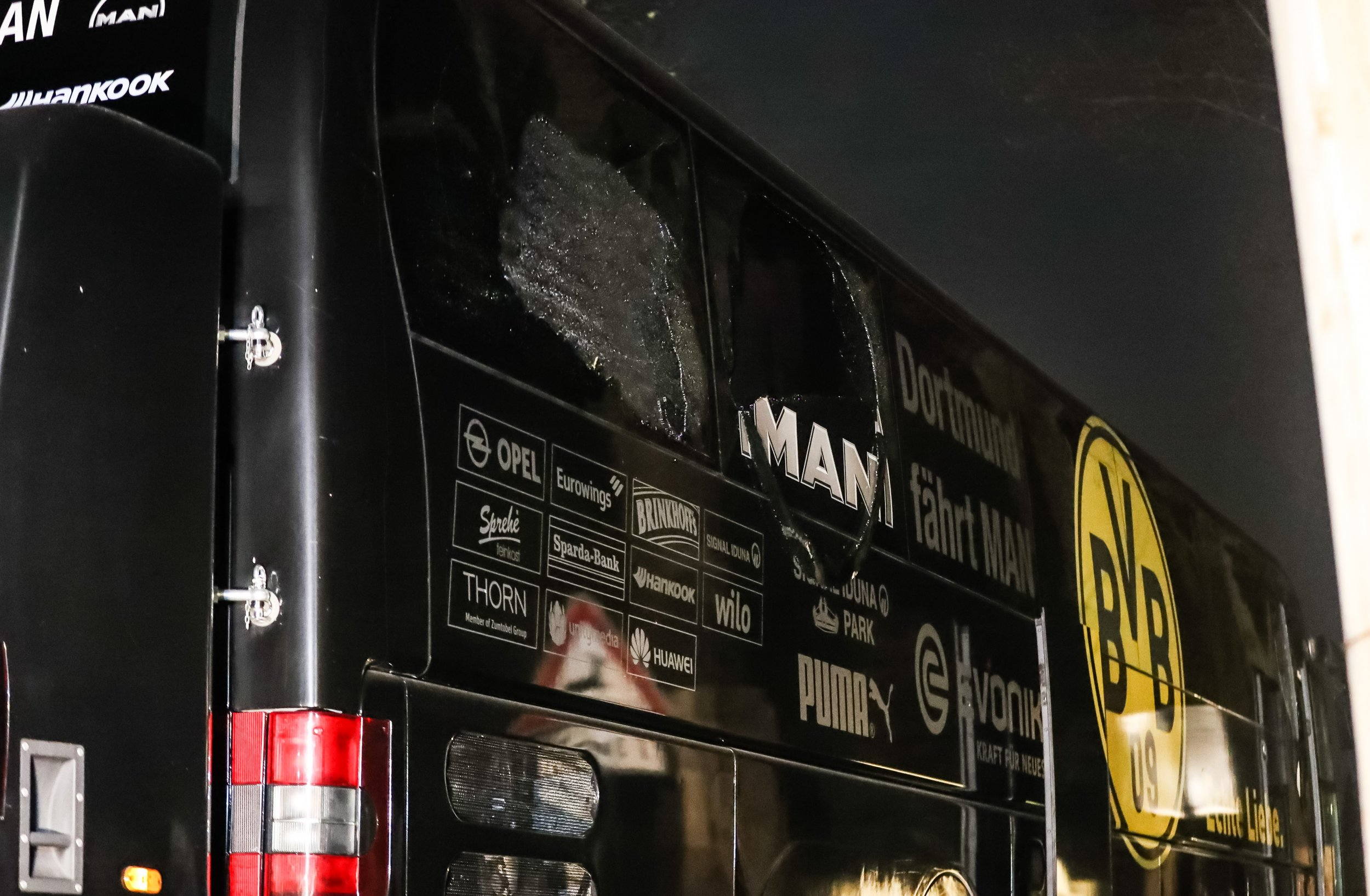 The Borussia Dortmund team bus, damaged by an explosion, in Dortmund, Germany, April 12.