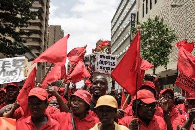 EFF protest Guptas