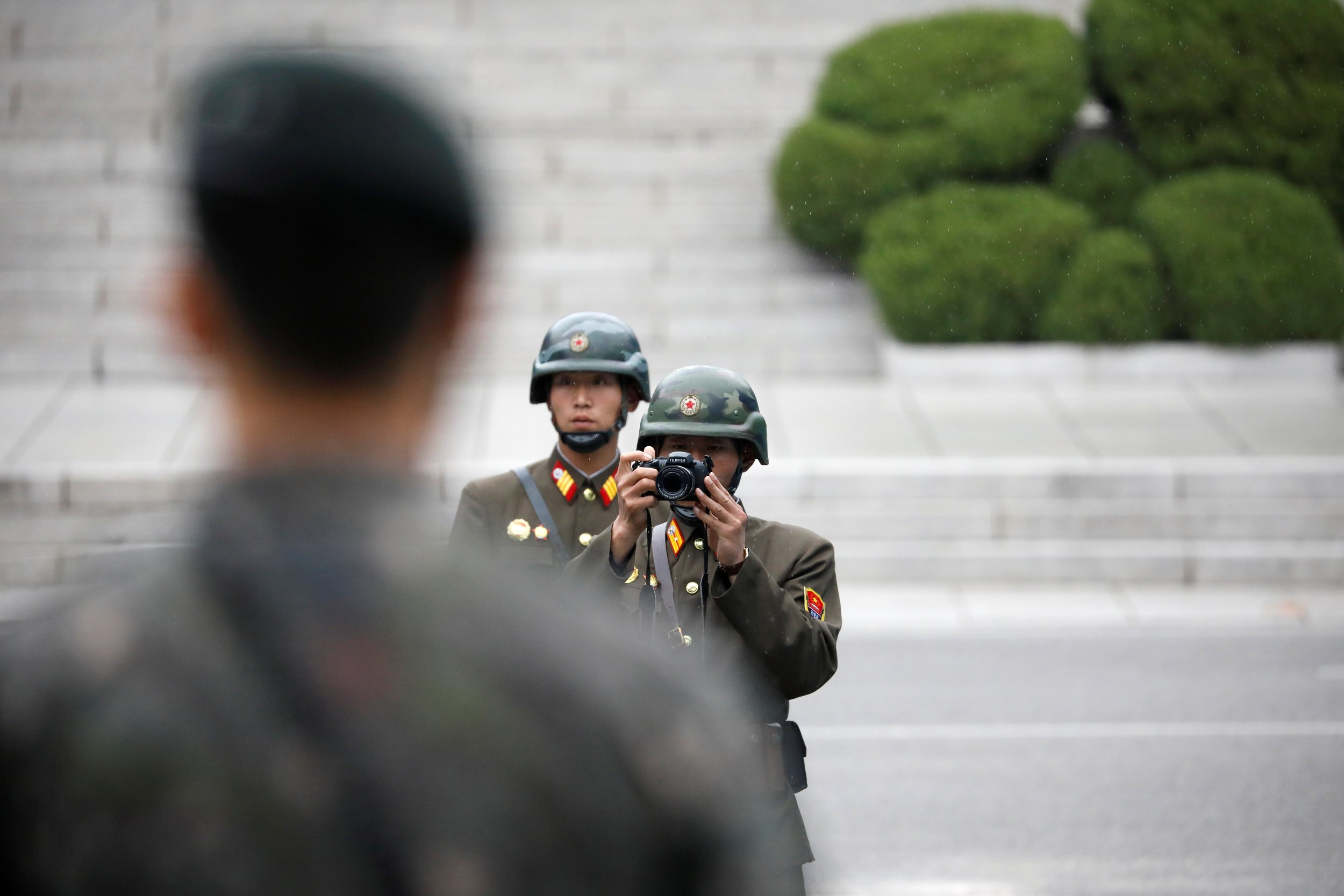 North Korea soldier with camera