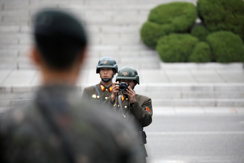 North Korea soldier with camera