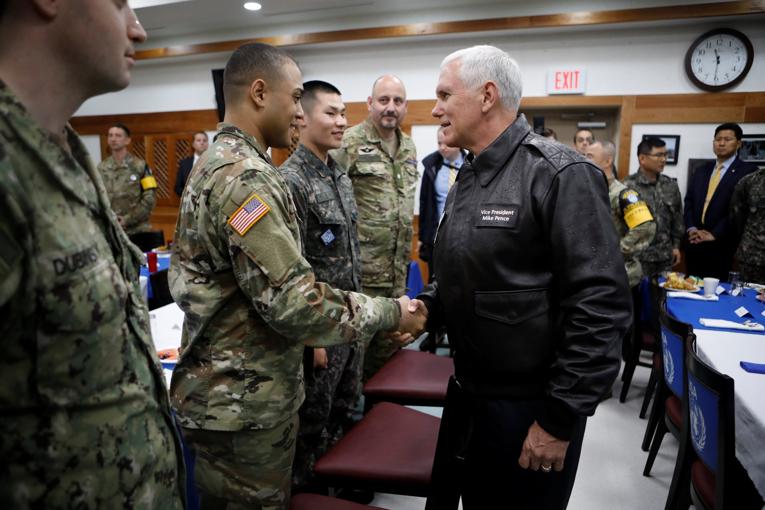 Pence meeting soldier