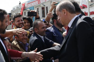 Erdogan with supporters in Istanbul