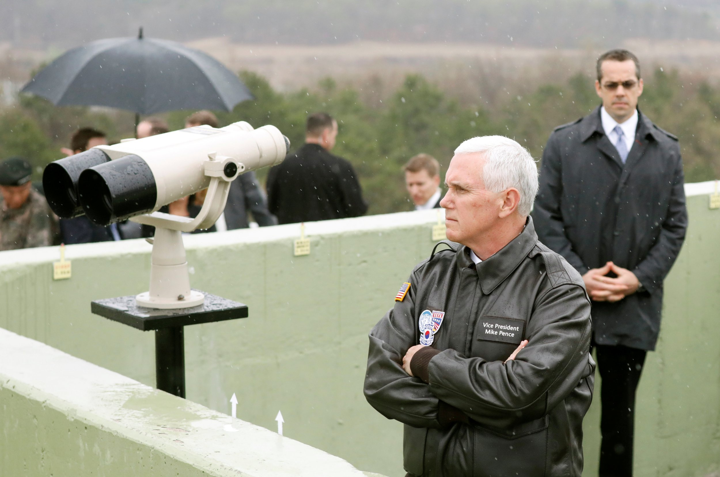 Mike Pence looks out over the DMZ