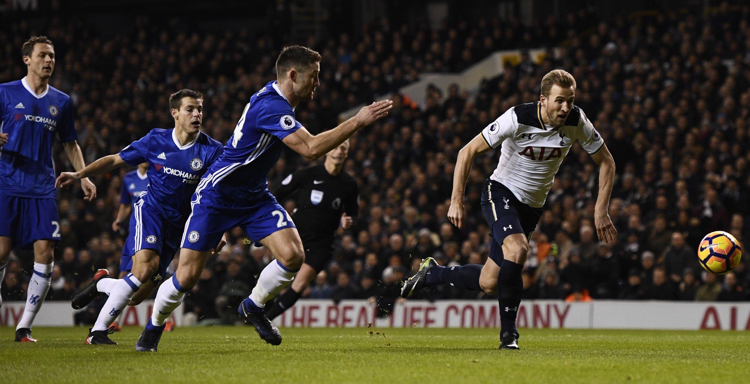 Tottenham Hotspur striker Harry Kane, far right.