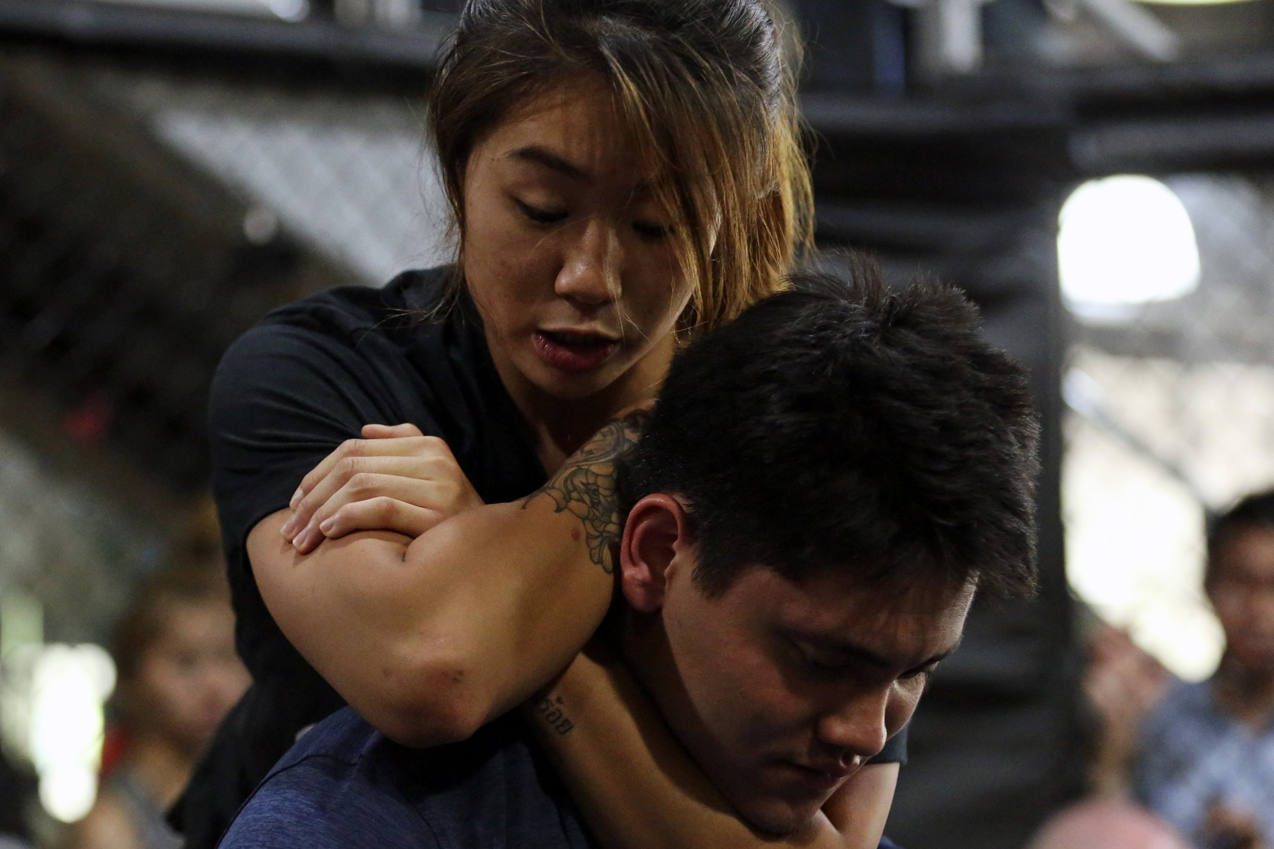 Angela Lee, ONE Championship's atomweight champion, at Evolve MMA Gym, Singapore, November 24 2016.