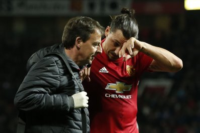 Manchester United striker Zlatan Ibrahimovic, right.