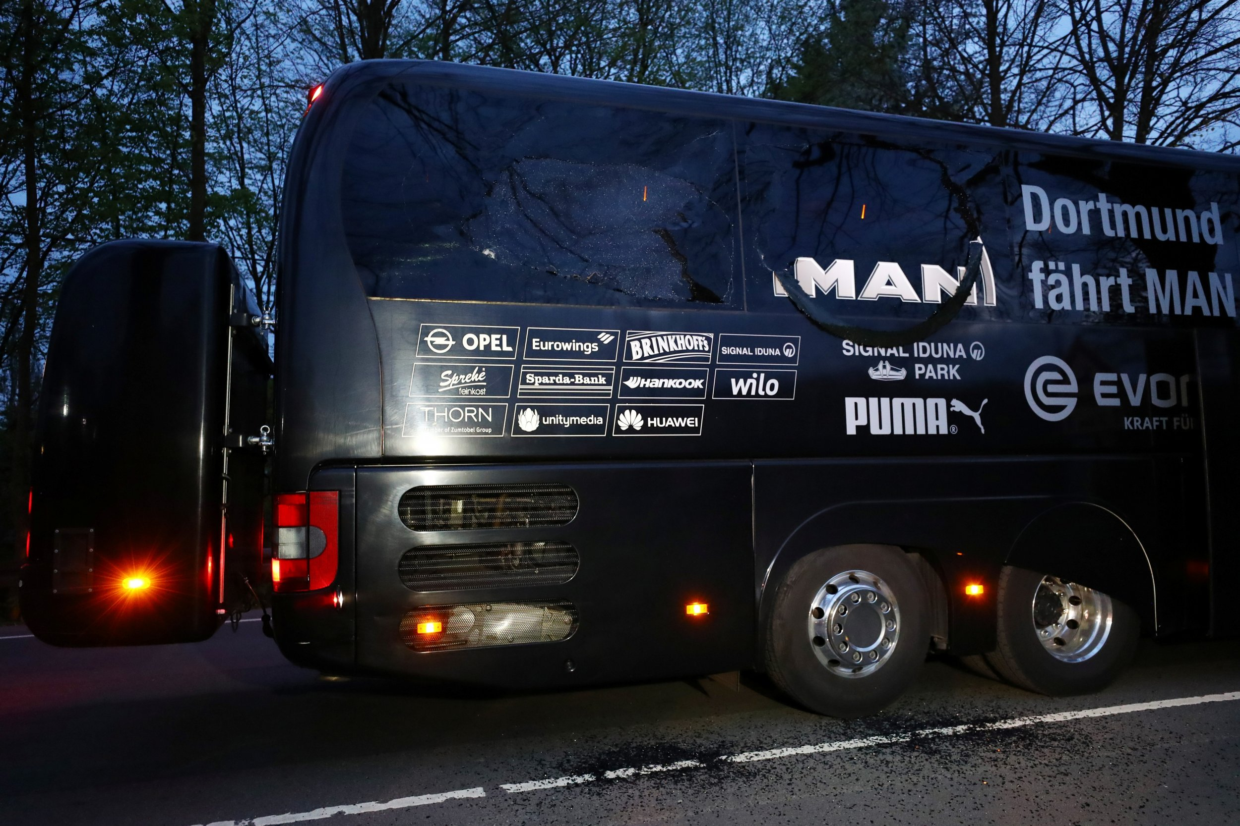 The Borussia Dortmund team bus is seen after an explosion near their hotel before the game against AS Monaco, Dortmund, Germany, April 11.