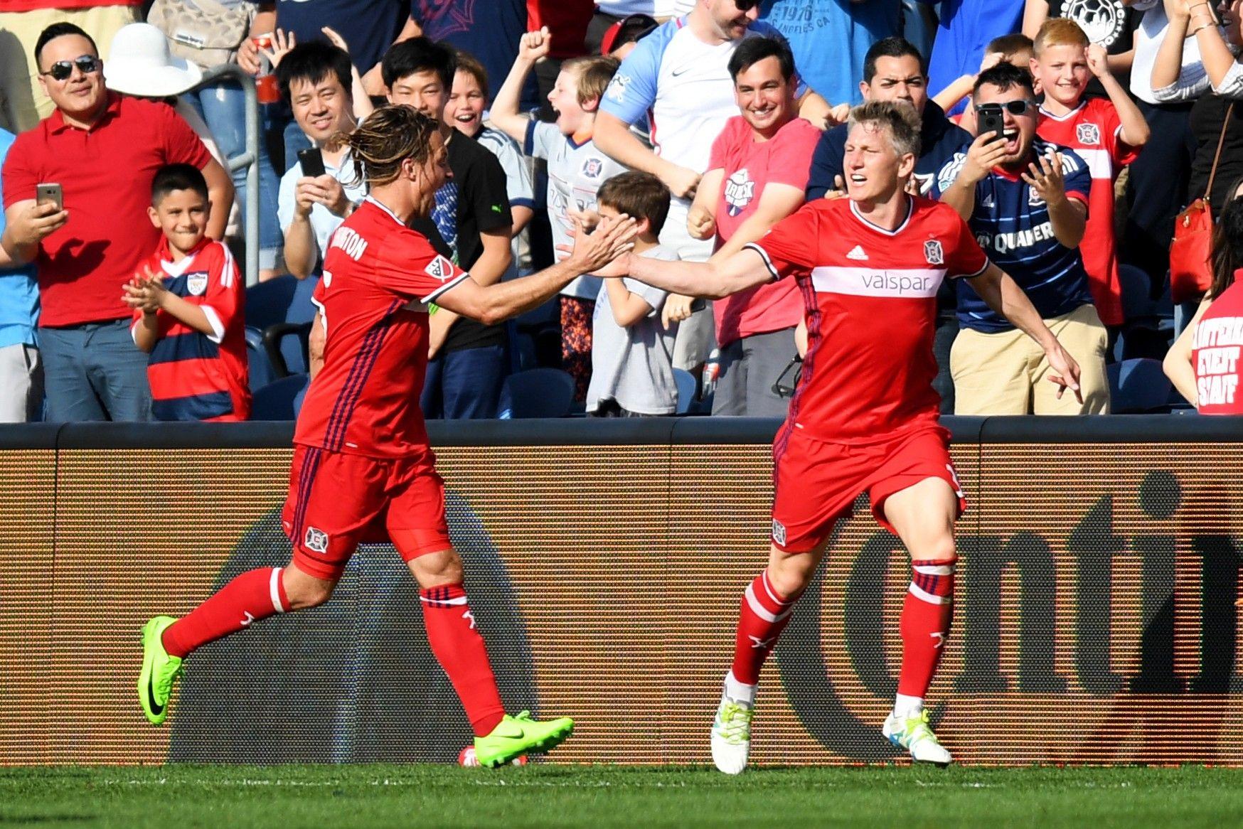 Chicago Fire midfielder Bastian Schweinsteiger, right.
