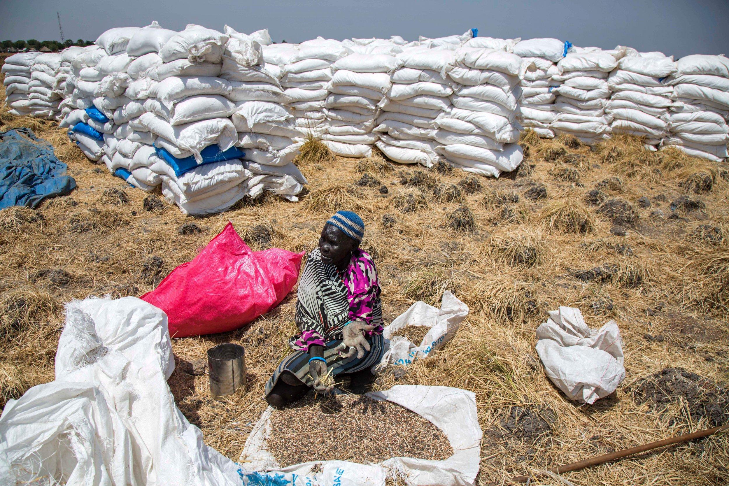 South Sudan aid bags