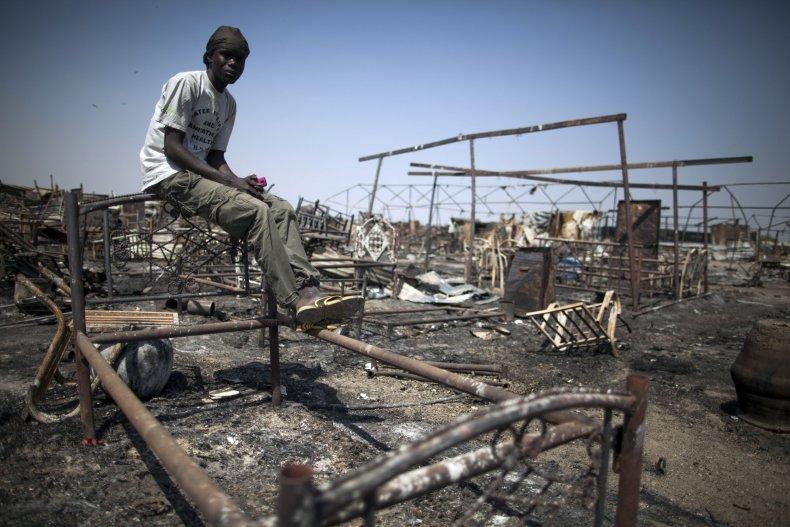 Burnt U.N. site in South Sudan