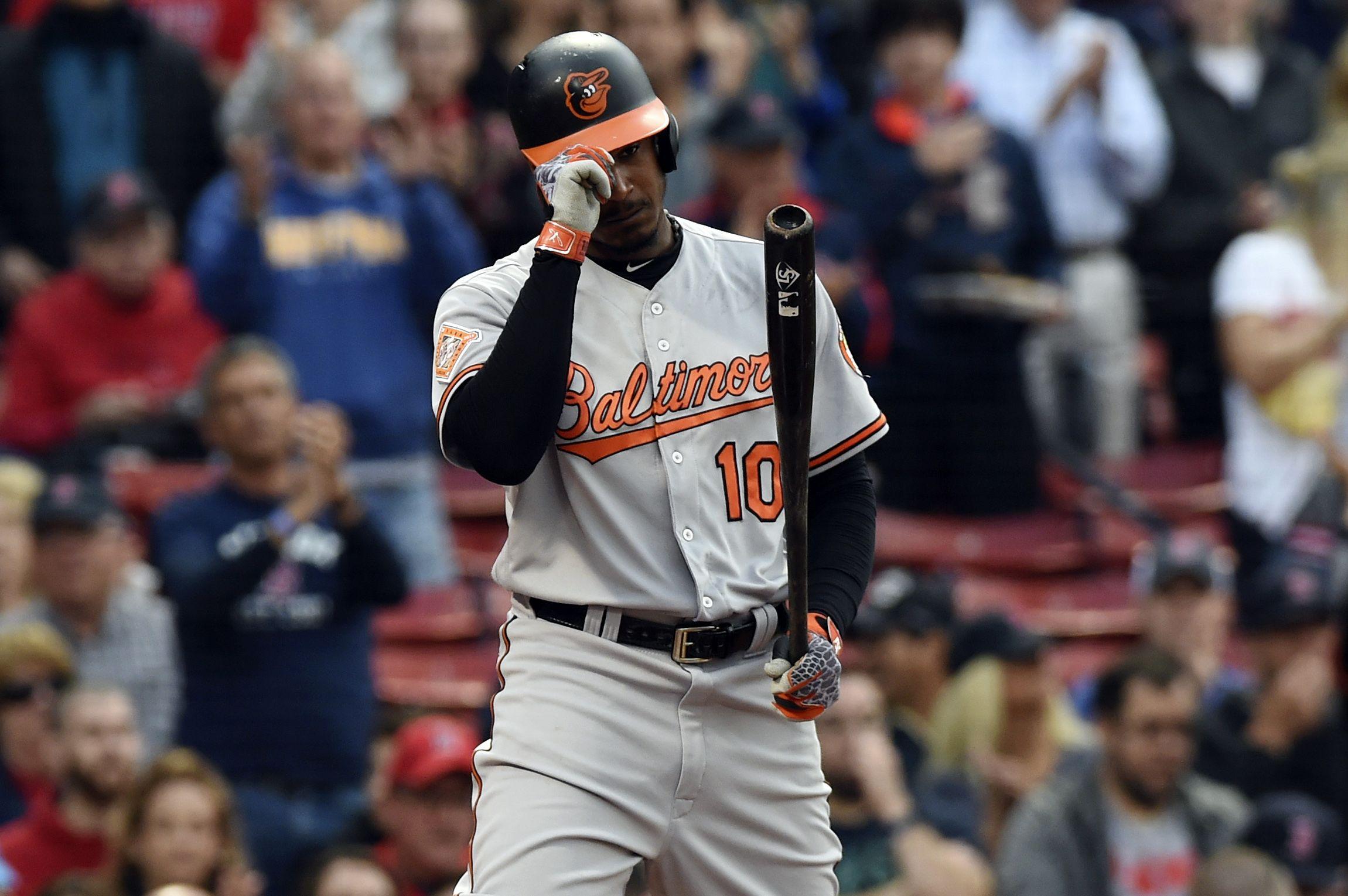 Baltimore Orioles center fielder Adam Jones at Fenway Park, Boston, May 2.
