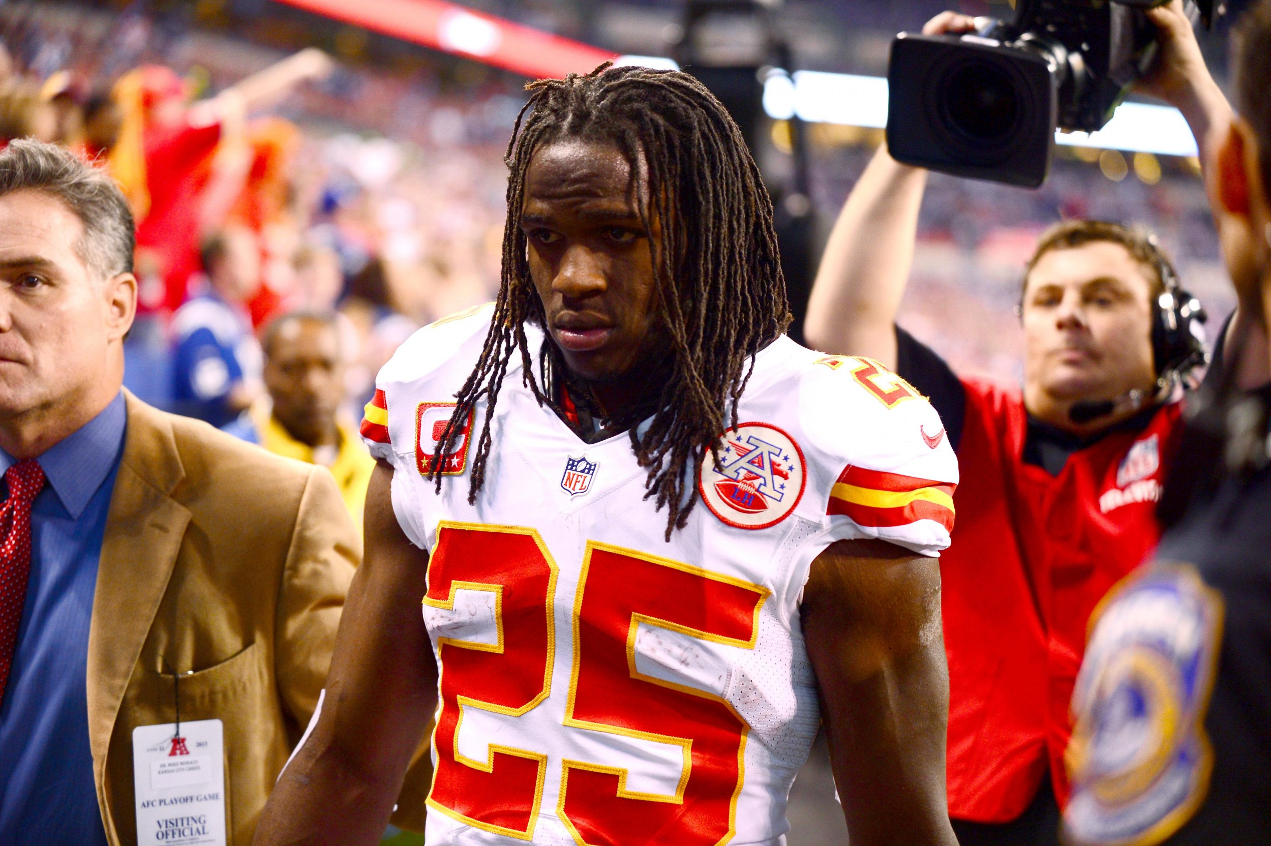 Jamaal Charles at Lucas Oil Stadium, Indianapolis, January 4 2014.