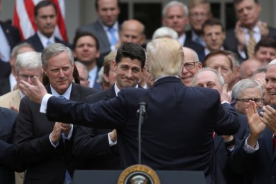 Donald Trump in the Rose Garden with Republicans