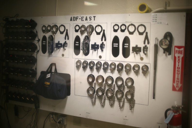Handcuffs on display at the Adelanto immigration detention center
