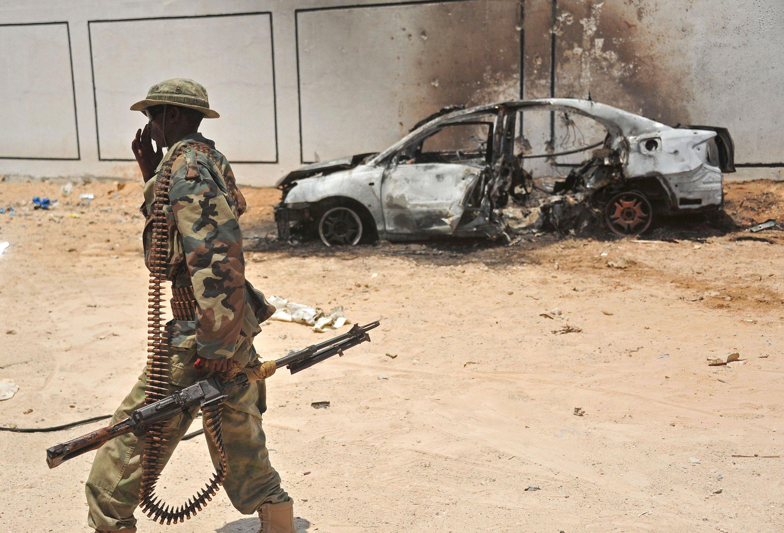 Somali soldier car