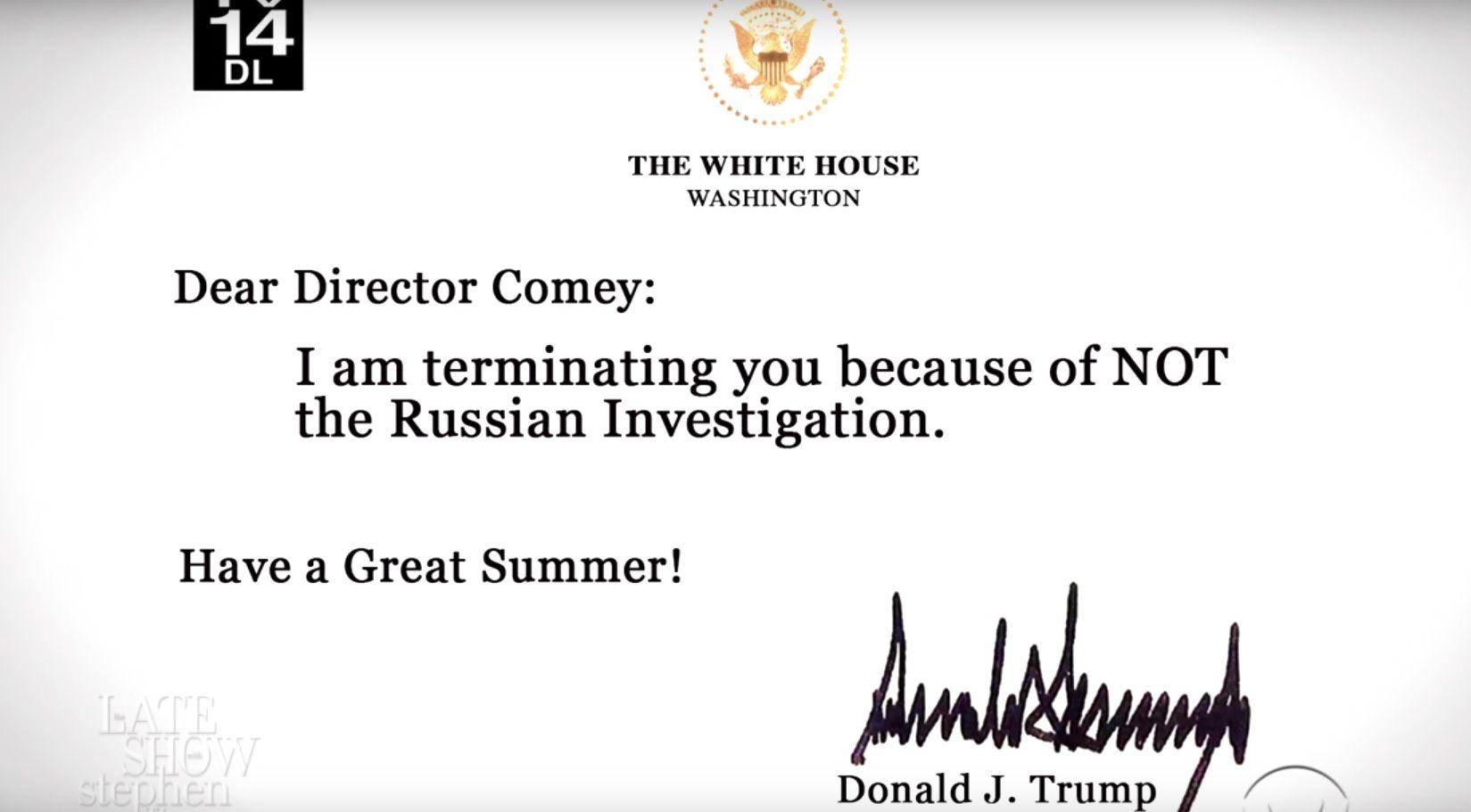 stephen colbert presents  u0026 39 trump u0026 39 s letters u0026 39  firing comey