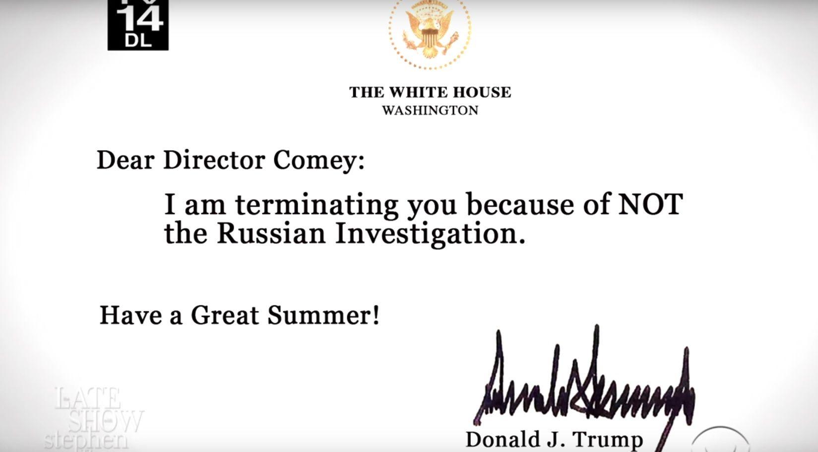 Colbert - alternative Comey letter