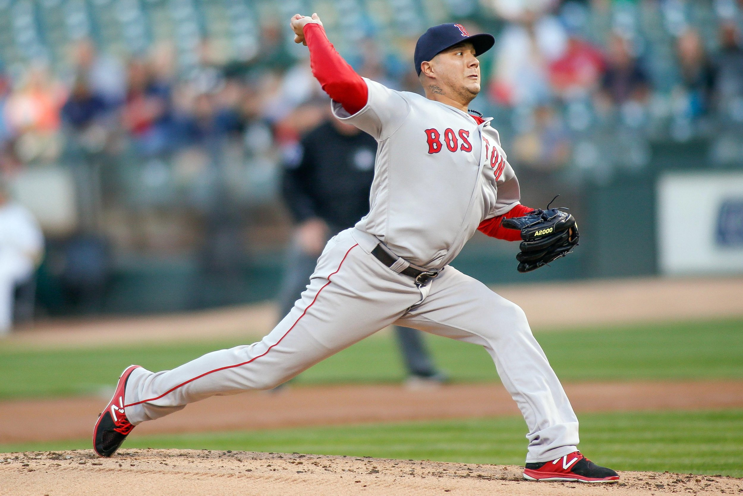 Boston Red Sox pitcher Hector Velazquez at Oakland Coliseum, California, May 18.