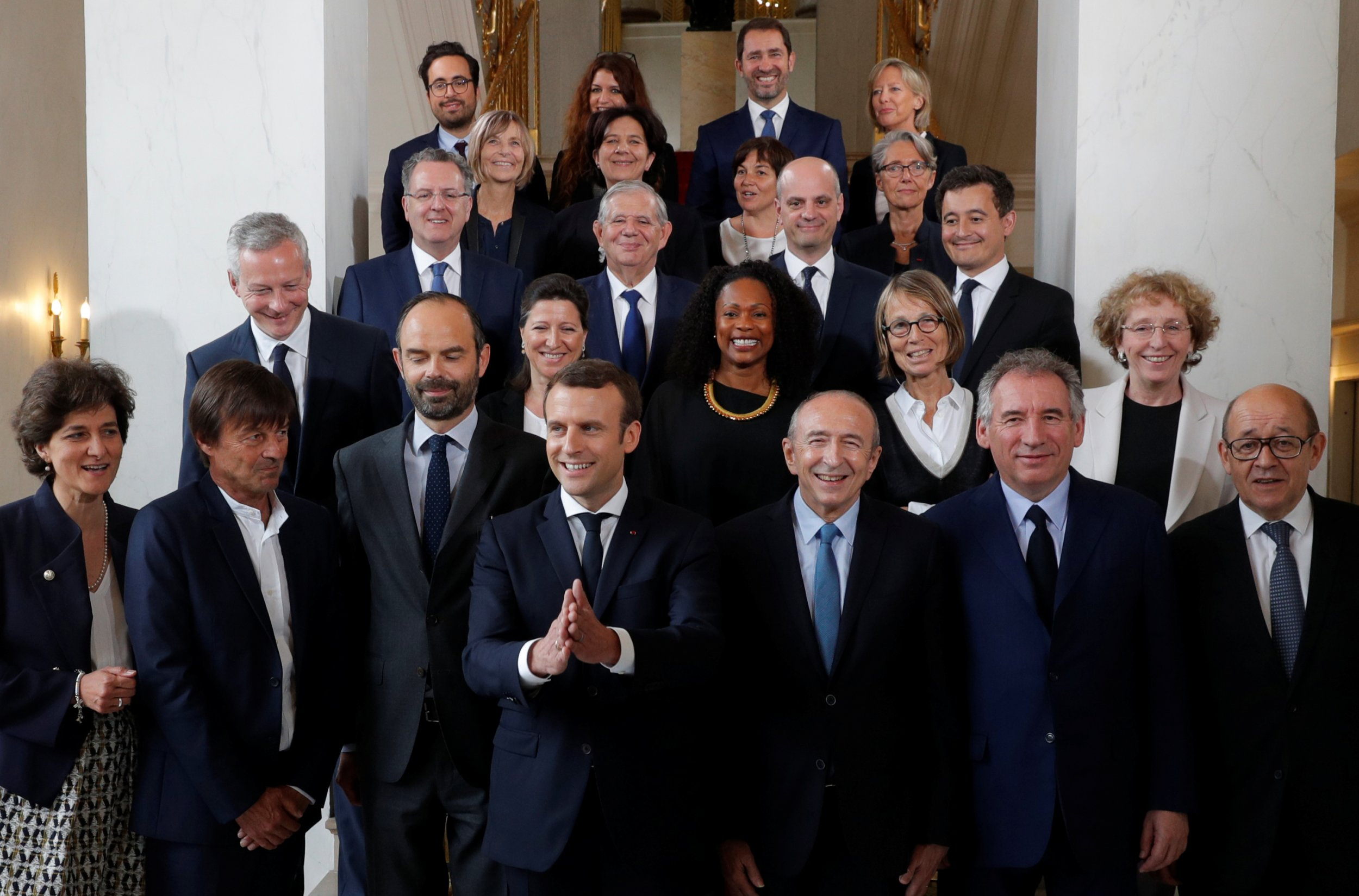 French President Emmanuel Macron and his cabinet