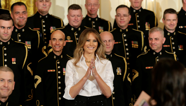 Melania Trump scheduled to speak to military families during first presidential trip with Donald Trump.