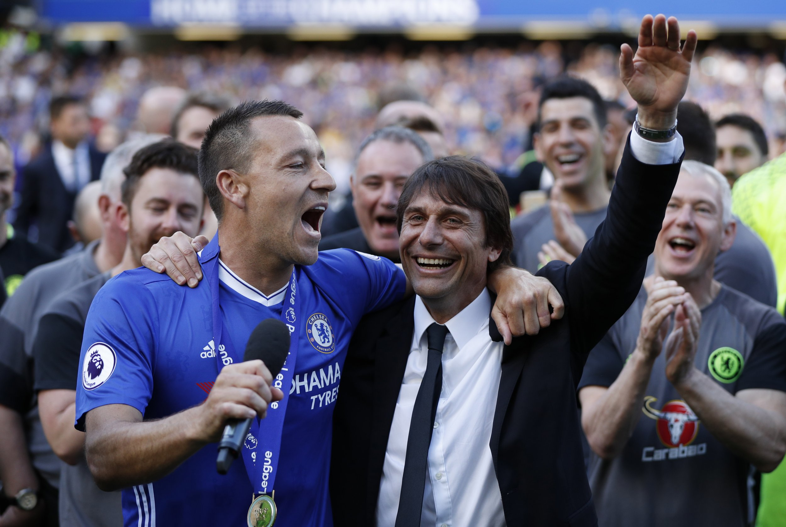 Chelsea manager Antonio Conte, right, with John Terry.