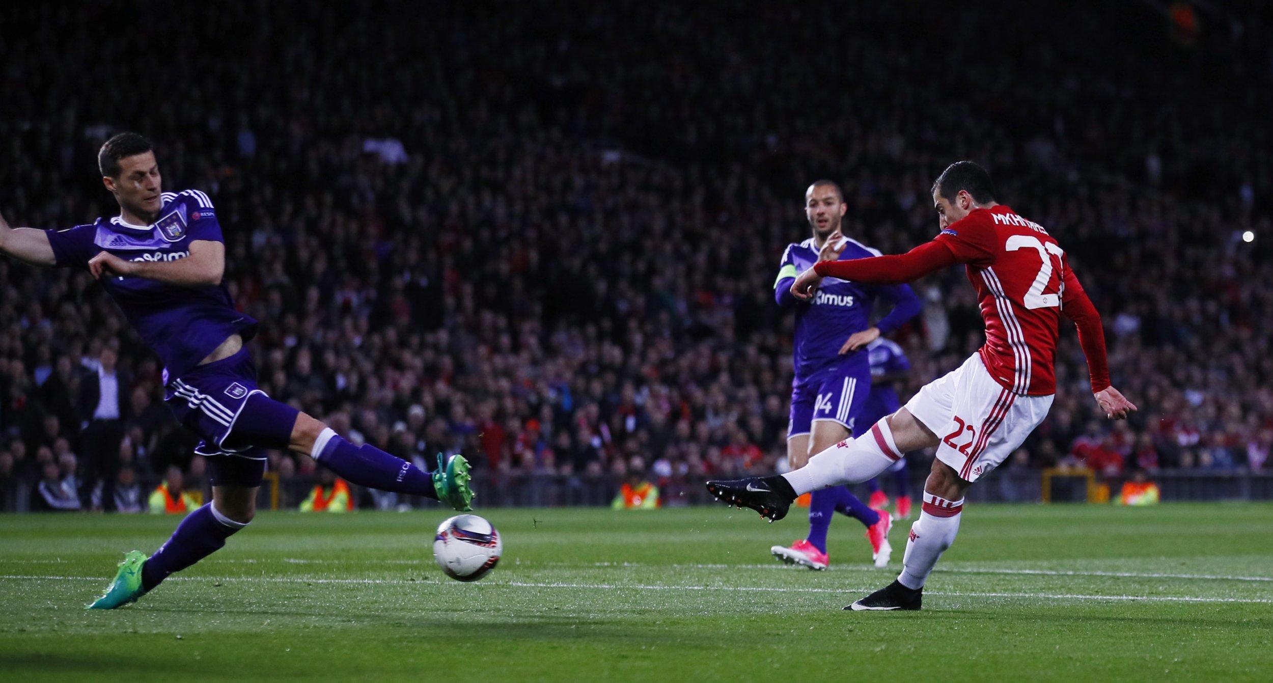 Manchester United winger Henrikh Mkhitaryan, right.