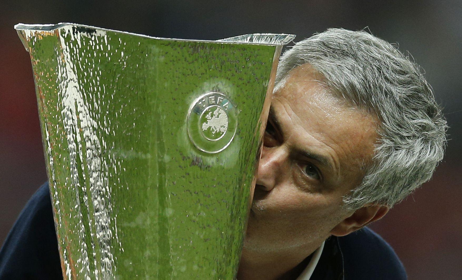 Jose Mourinho with the Europa League trophy.
