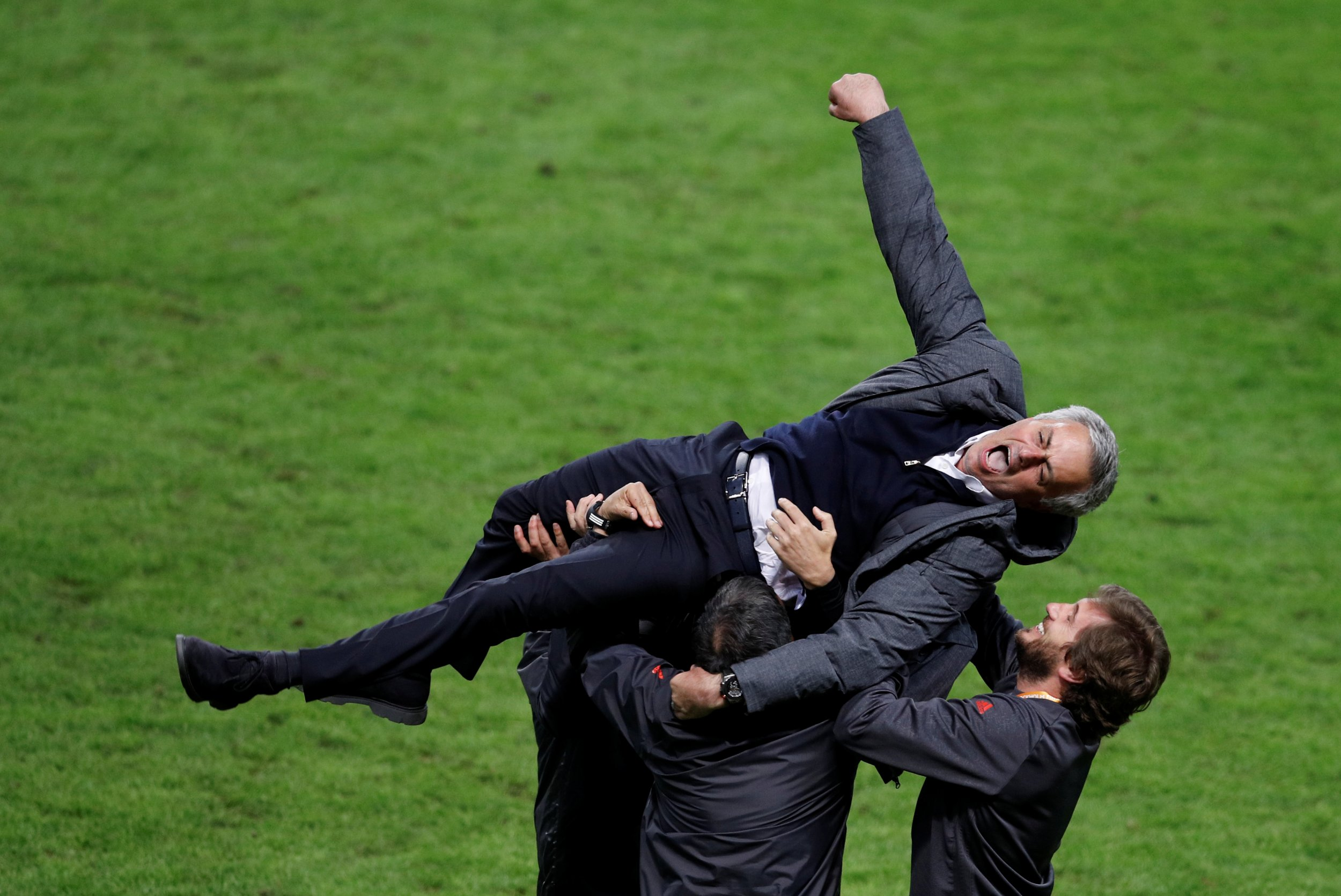 Manchester United manager Jose Mourinho celebrates with coaching staff at Friends Arena, Stockholm, May 24.