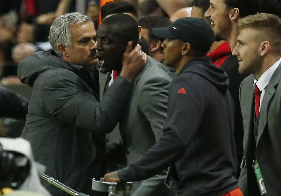 Manchester United manager Jose Mourinho, left, with defender Eric Bailly.