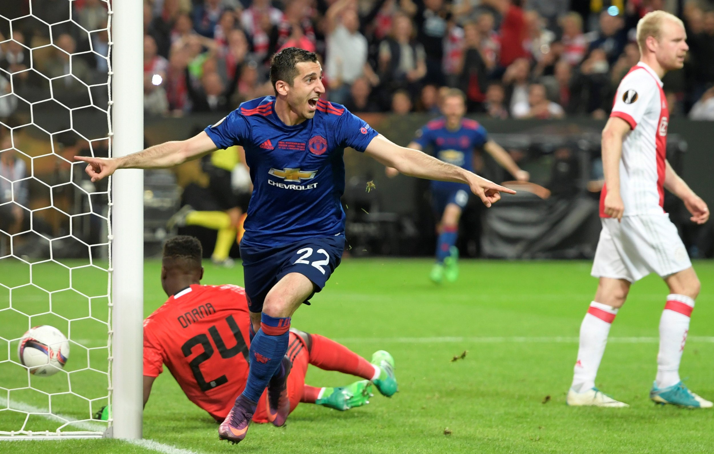 Henrikh Mkhitaryan celebrates scoring against Ajax in the Europa League final.