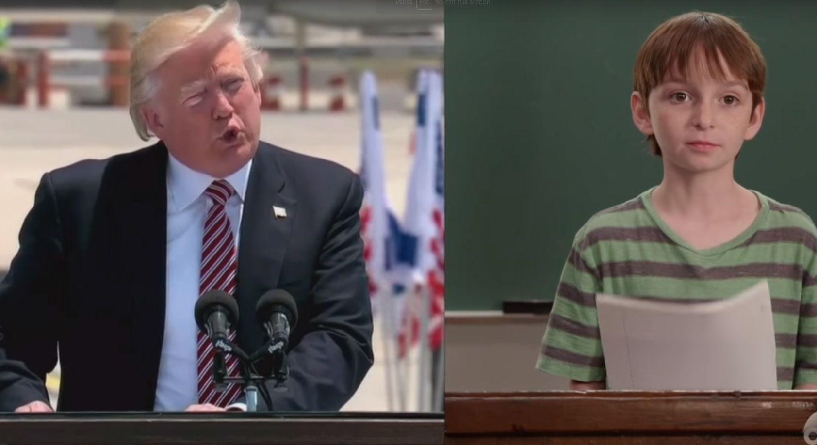 Kids read Trump's speeches