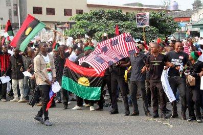 Biafra Trump protest