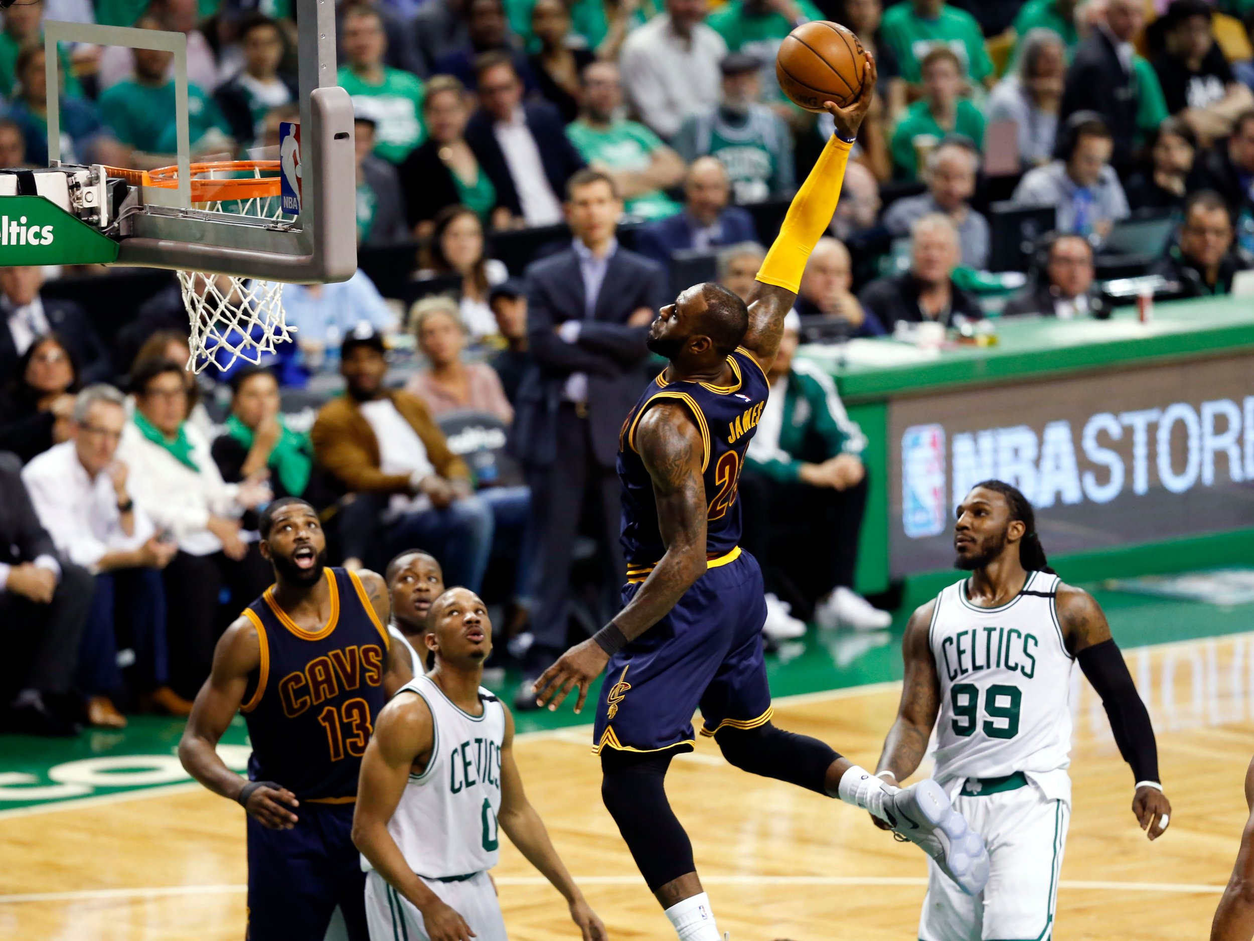 Cleveland Cavaliers forward LeBron James dunks and scores against the Boston Celtics at TD Garden, Boston, May 25.