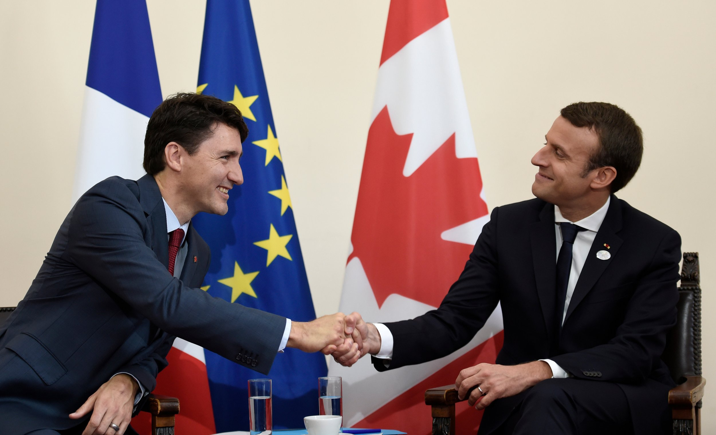 Trudeau Meets Macron 0