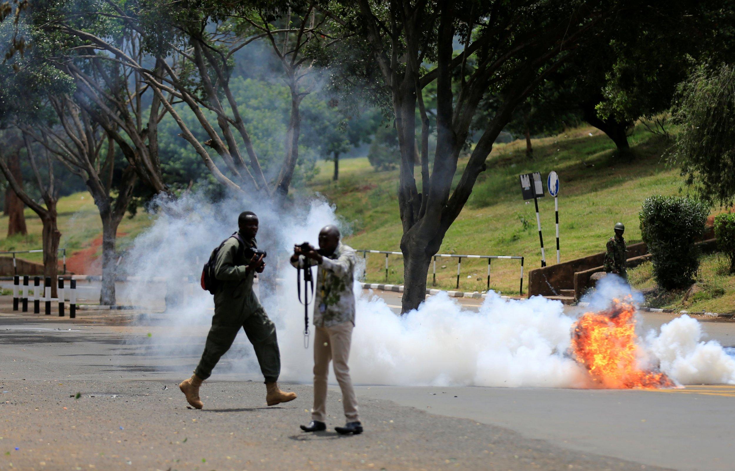 Kenya journalist at protest