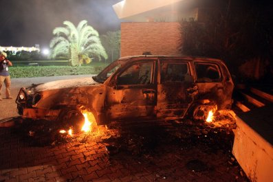 U.S. Benghazi attack car on fire