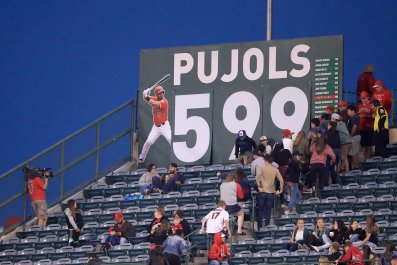 A sign indicating the number of career home runs hit by Albert Pujols of the Los Angeles Angels in Anaheim, California, May 30 2017.