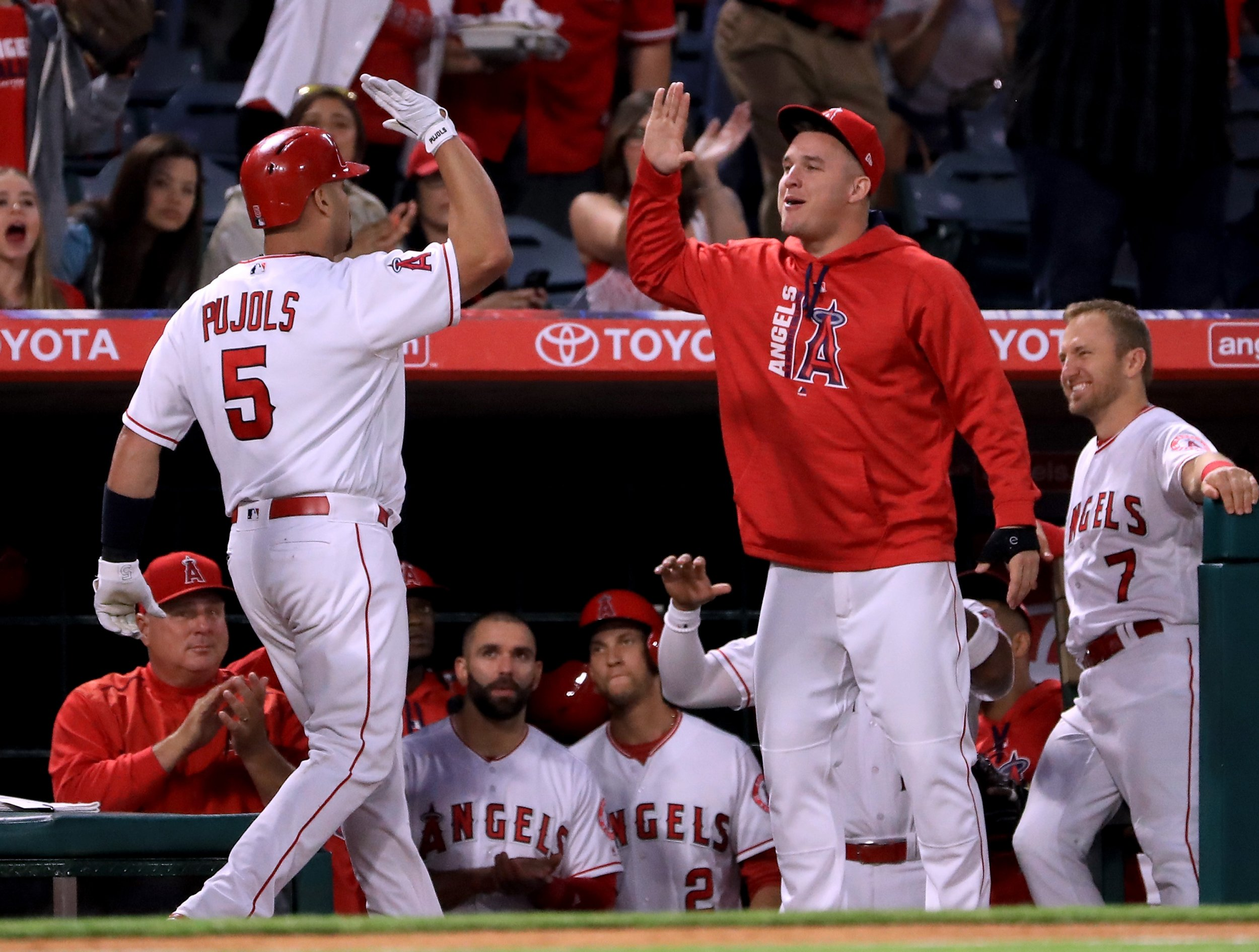 Albert Pujols of the Los Angeles Angels, left, at Angel Stadium in Anaheim, May 30.