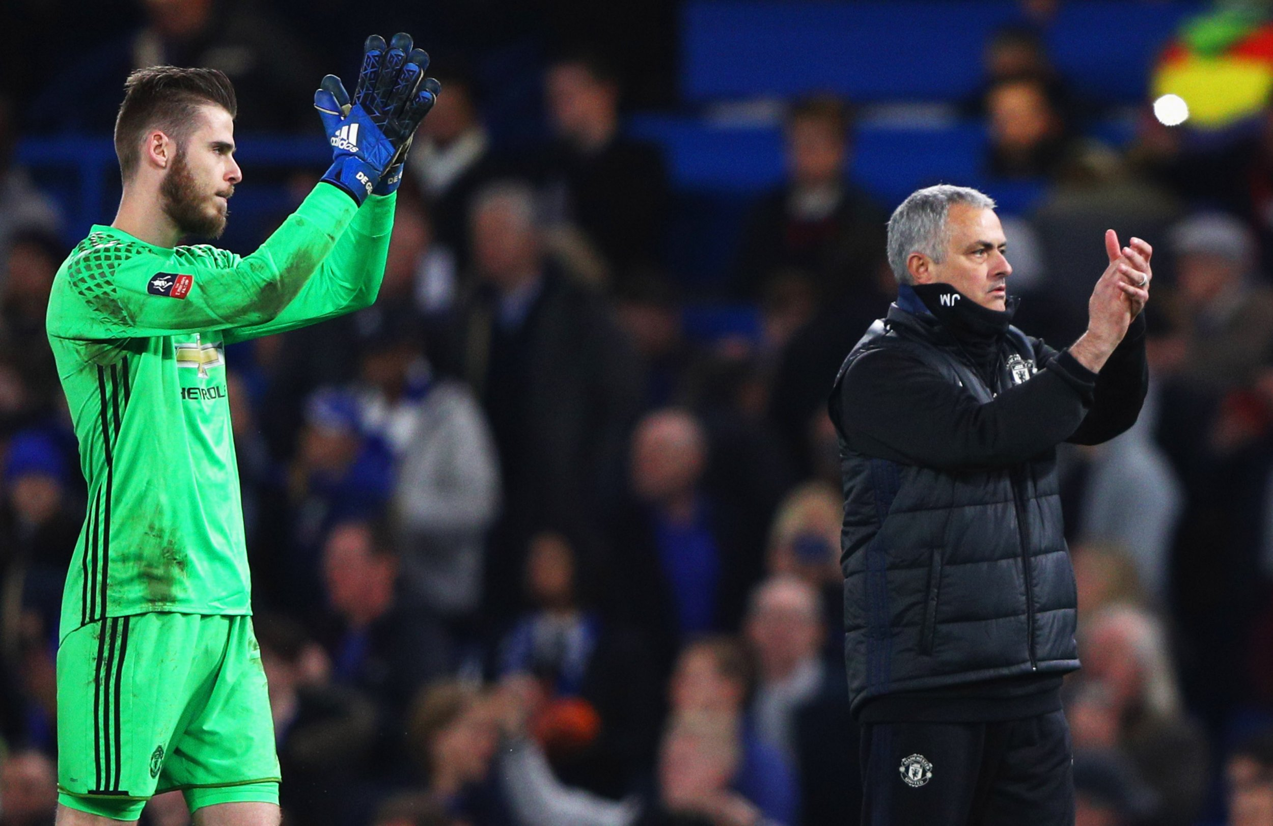 David De Gea, left, with Manchester United manager Jose Mourinho.