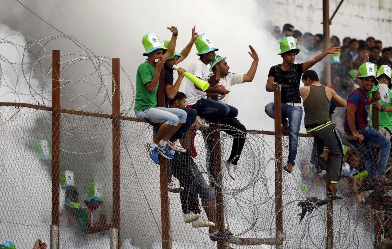 Palestinian football fans in Gaza