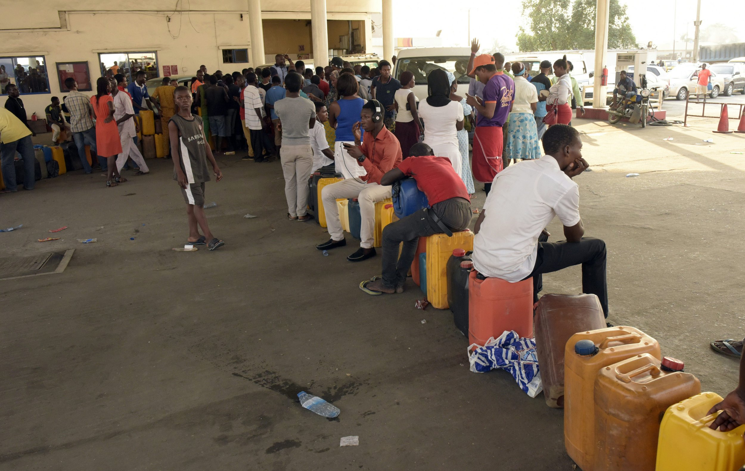 A fuel station line in Lagos, Nigeria.