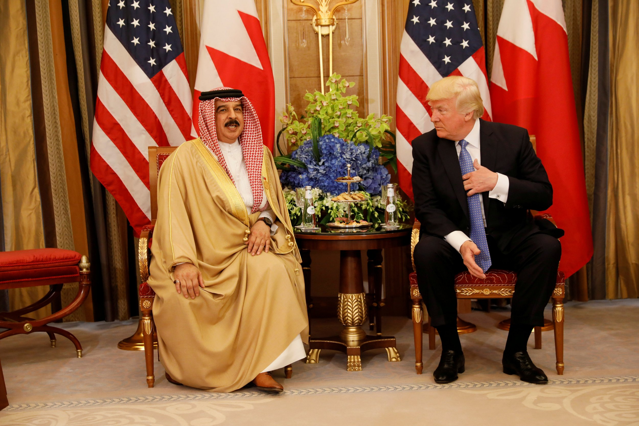 Bahrain's King Hamad bin Isa Al Khalifa and Donald Trump