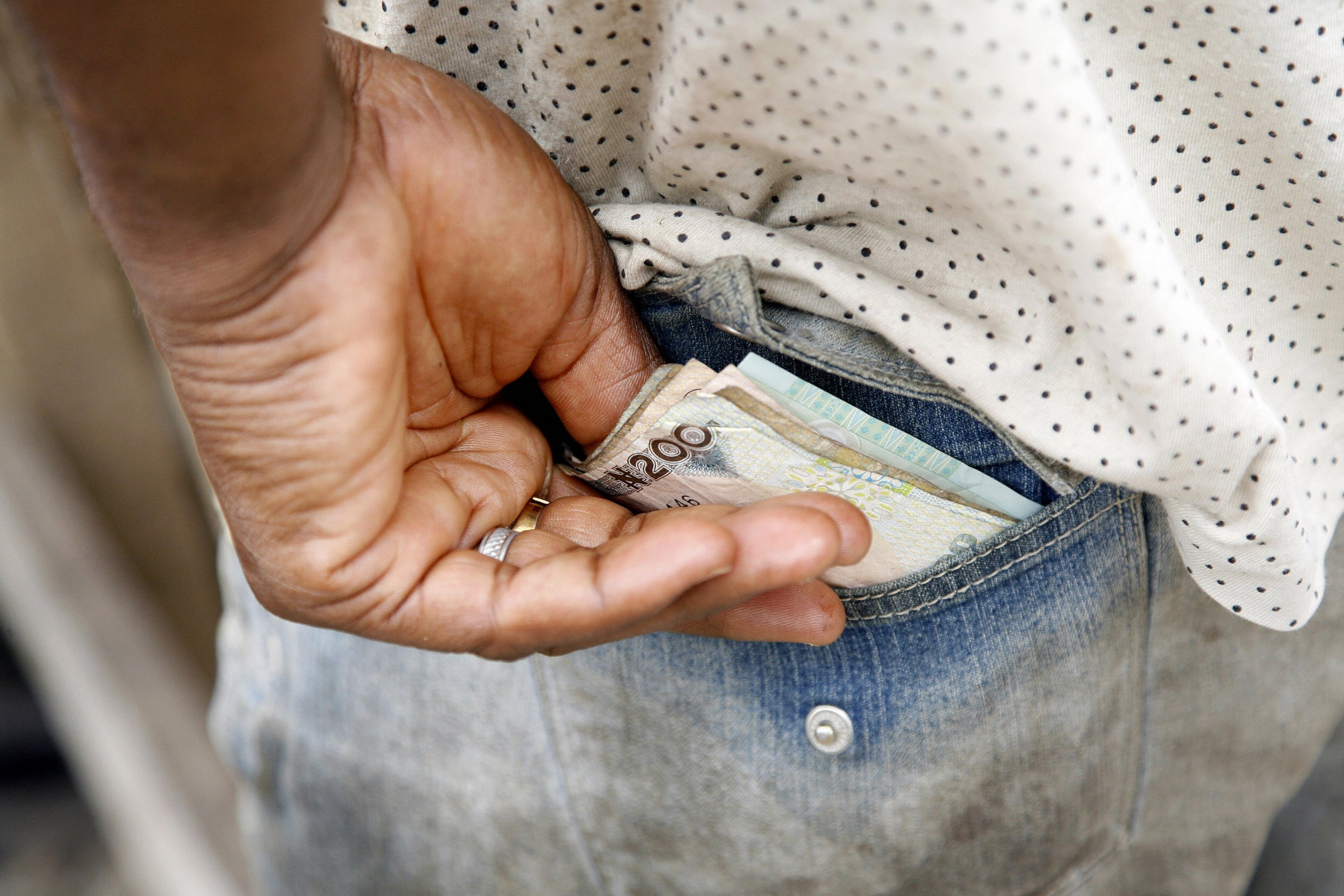 Nigeria money in back pocket