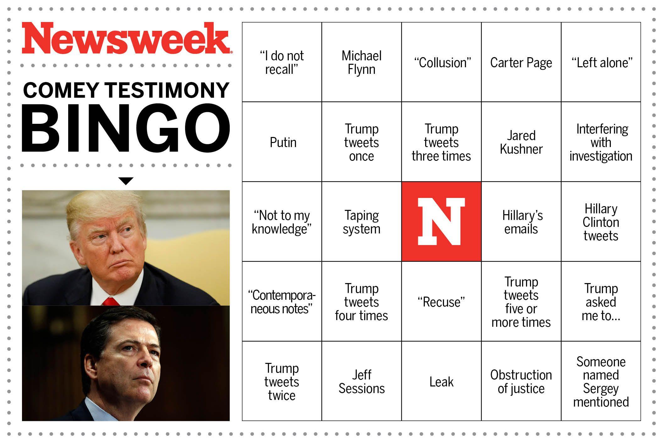 Comey Testimony Bingo